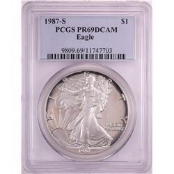 1987-S Proof $1 American Silver Eagle Coin PCGS PR69DCAM