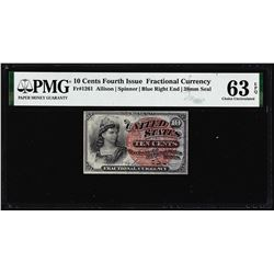 1863 Ten Cents Fourth Issue Fractional Note Fr.1261 PMG Choice Uncirculated 63EPQ
