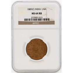 1889 India 1/4 Annas Coin NGC MS64RB