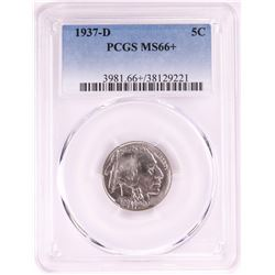 1937-D Buffalo Nickel Coin PCGS MS66+