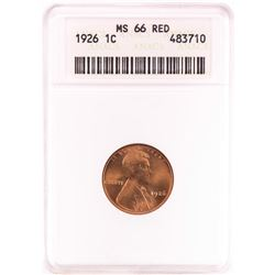 1926 Lincoln Wheat Cent Coin ANACS MS66RD