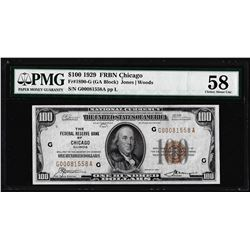 1929 $100 Federal Reserve Bank Note Chicago Fr.1890-G PMG Choice About Uncirculated 58