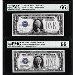 (2) Consecutive 1928A $1 Silver Certificate Notes Fr.1601 PMG Gem Uncirculated 66EPQ
