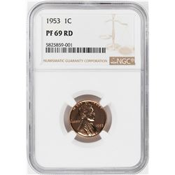 1953 Proof Lincoln Wheat Cent Coin NGC PF69RD