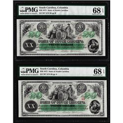 Matching Serial Set- 1872 $20 South Carolina Obsolete Notes PMG Superb Gem Unc. 68EPQ