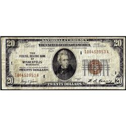 1929 $20 Federal Reserve Bank Note Minneapolis
