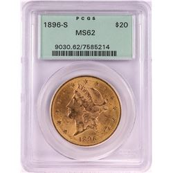 1896-S $20 Liberty Head Double Eagle Gold Coin PCGS MS62 Old Green Holder