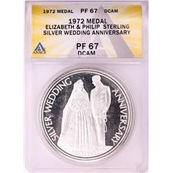 1972 Elizabeth & Prince Philip Sterling Silver Wedding Anniversary Medal ANACS PF67DCAM