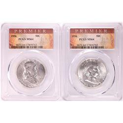 Lot of (2) 1956 Franklin Half Dollar Coins PCGS MS64