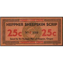 1934 Twenty-Five Cents Heppner Sheepskin Oregon Obsolete Scrip