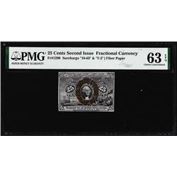 1863 25 Cents Second Issue Fractional Note Fr.1290 PMG Choice Uncirculated 63EPQ