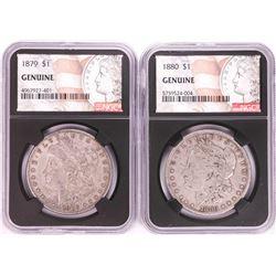 Lot of 1879-1880 $1 Morgan Silver Dollar Coins NGC Genuine