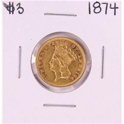 1874 $3 Indian Princess Head Gold Coin
