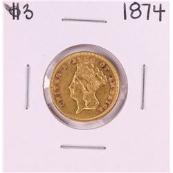 1874 $3 Indian Princess Head Gold Coin