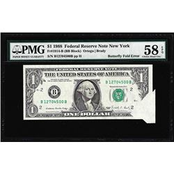 1988 $1 Federal Reserve Note New York Butterfly Fold ERROR PMG CH. About Unc 58EPQ