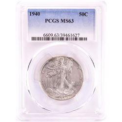 1940 Walking Liberty Half Dollar Coin PCGS MS63