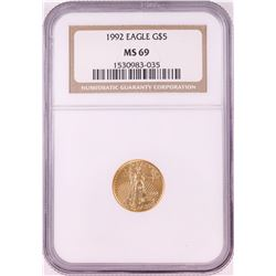 1992 $5 American Gold Eagle Coin NGC MS69