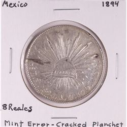 1894 Mexico 8 Reales Silver Coin Mint Error-Cracked Planchet