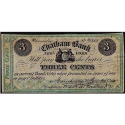 November 20, 1862 Three Cents Chatham Bank, New York Obsolete Note