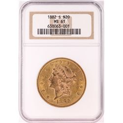 1882-S $20 Liberty Head Double Eagle Gold Coin NGC MS61