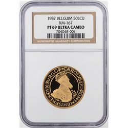 1987 Belgium Proof 50 ECU Gold Coin KM-167 NGC PF69 Ultra Cameo