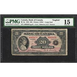 "1935 $20 Bank of Canada ""English"" Bank Note BC-9a PMG Choice Fine 15"