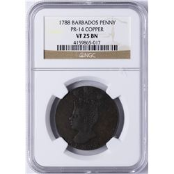 1788 Barbados Copper Penny NGC VF 25 BN