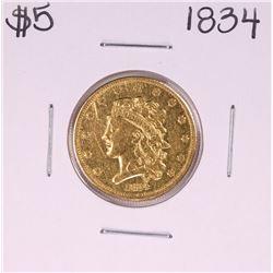 1834 $5 Liberty Head Half Eagle Gold Coin