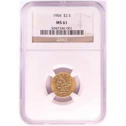 1904 $2 1/2 Liberty Head Quarter Eagle Gold Coin NGC MS61