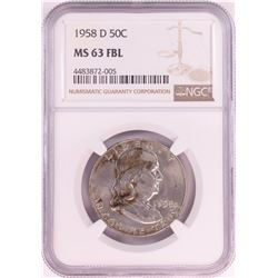 1958-D Franklin Half Dollar Coin NGC MS63FBL
