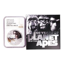 2018P Tuvalu $1 Proof Planet of the Apes Silver Coin NGC PF70 Ultra Cameo w/Box & COA