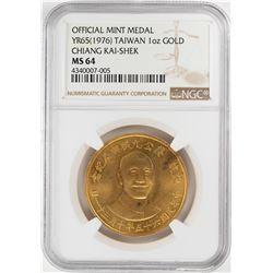 YR65 (1976) Taiwan Chaing Kai-Shek 1 oz. Gold Mint Medal NGC MS64