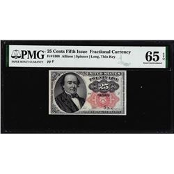 1874 25 Cent Fifth Issue Fractional Note Fr.1308 PMG Gem Uncirculated 65EPQ