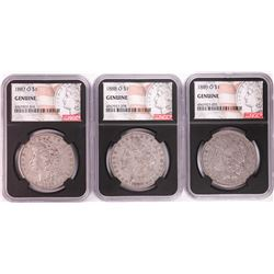 Lot of 1887-O to 1889-O $1 Morgan Silver Dollar Coins NGC Genuine