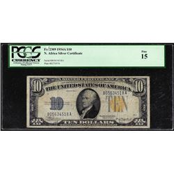 1934A $10 North Africa Silver Certificate Note Fr.2309 PCGS Fine 15