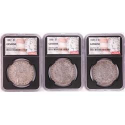 Lot of 1887, 1888, & 1889-O $1 Morgan Silver Dollar Coins NGC Genuine