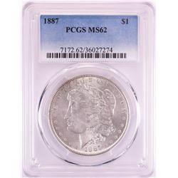 1887 $1 Morgan Silver Dollar Coin PCGS MS62