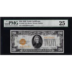 1928 $20 Gold Certificate Note Fr.2402 PMG Very Fine 25