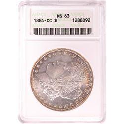 1884-CC $1 Morgan Silver Dollar Coin ANACS MS63