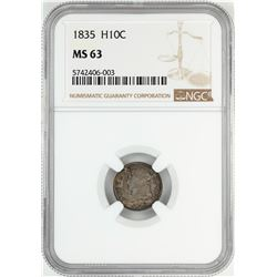 1835 Capped Bust Half Dime Coin NGC MS63