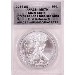 2014-(S) $1 American Silver Eagle Coin ANACS MS70 First Release