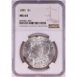 1881 $1 Morgan Silver Dollar Coin NGC MS64