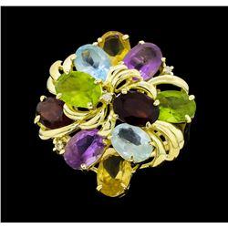 14KT Yellow Gold Ladies 10.00 ctw Multi-Color Semi-Precious Gemstone and Diamond Ring