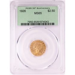 1926 $2 1/2 Indian Head Quarter Eagle Gold Coin PCGS MS65