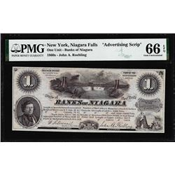 1860's $1 Banks of Niagara New York Advertising Script PMG Gem Uncirculated 66EPQ