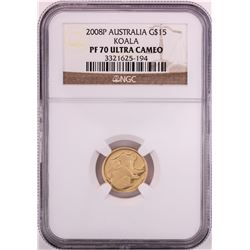 2008P $15 Australia Proof Koala Gold Coin NGC PF70 Ultra Cameo