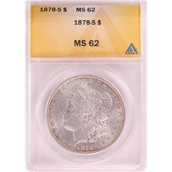 1878-S $1 Morgan Silver Dollar Coin ANACS MS62