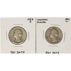Lot of 1932-D & 1932-S Washington Quarter Coins - Key Dates
