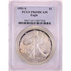 1991-S Proof $1 American Silver Eagle Coin PCGS PR69DCAM
