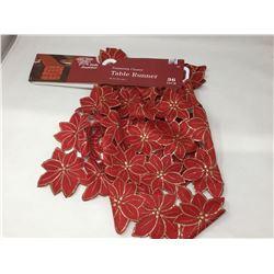 Poinsettia Cluster Table Runner (36in)